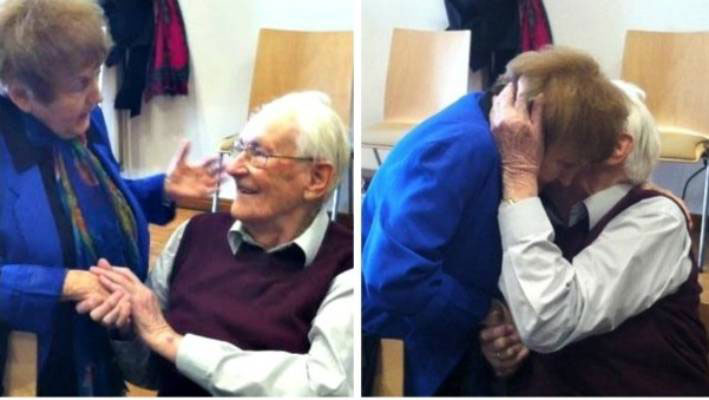 Eva Kor, a survivor of Josef Mengele's horrific experiments on twins at Aushwitz, is pulled into a hug by 94-year old Oskar Gröning who was sentenced for his role in the murders at Auschwitz.