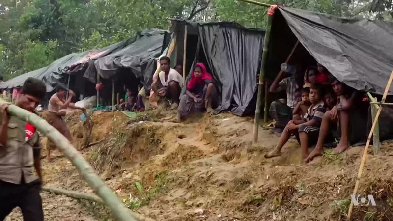 Rohingya refugees from Myanmar sit inside makeshift tents erected in rough terrain. A man in the left frame is carrying a branch to assemble another shelter.