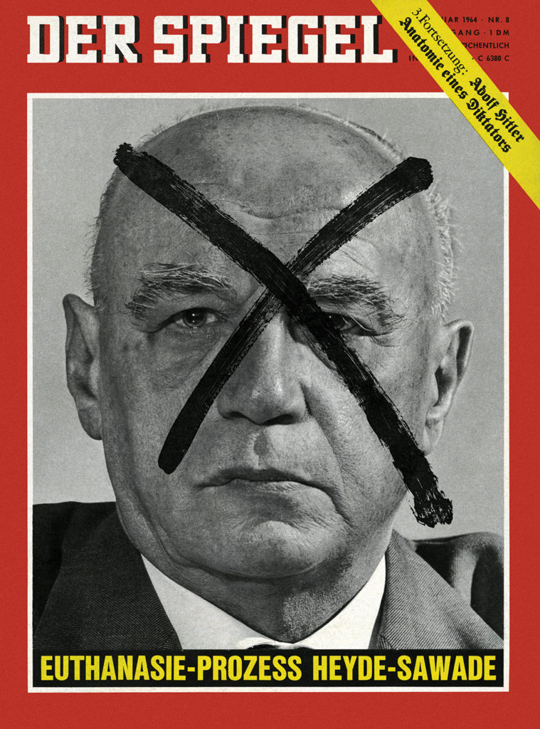 A 1964 cover of Der Spiegel, a German magazine, featuring Wener Heyde, an 'euthanasia' doctor who committed suicide in prison before standing trial for murdering children. An X covers his face.