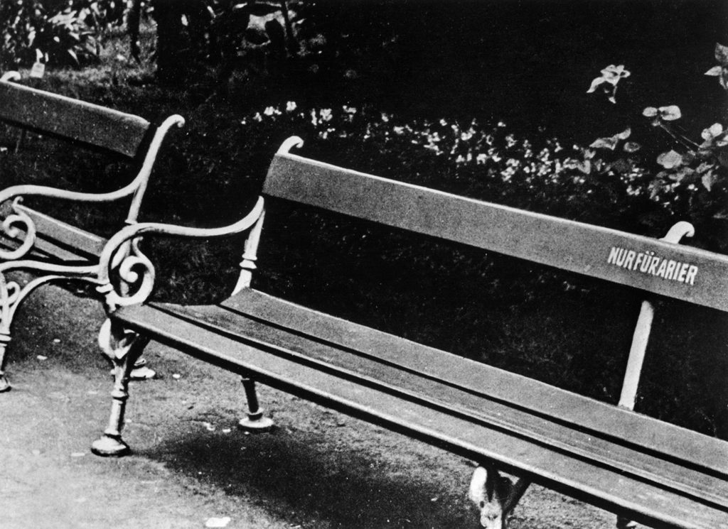 "A bench with the sign ""Nur fuer Arier!"" (for Aryans only). This was part of the efforts in placing Jews firmly as second-class citizens."