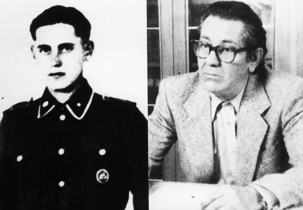 Side-by-side photos of Heinz Villain (a member of the SS): On the left is a portrait from his youth as an officer wearing his uniform and on the right is a photo of him during his trial.